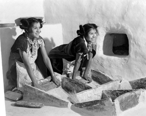 Belvera Nuvamsa and Mary Anna Nuvakaku, Puberty Ceremony, grinding corn, Shungopovi.