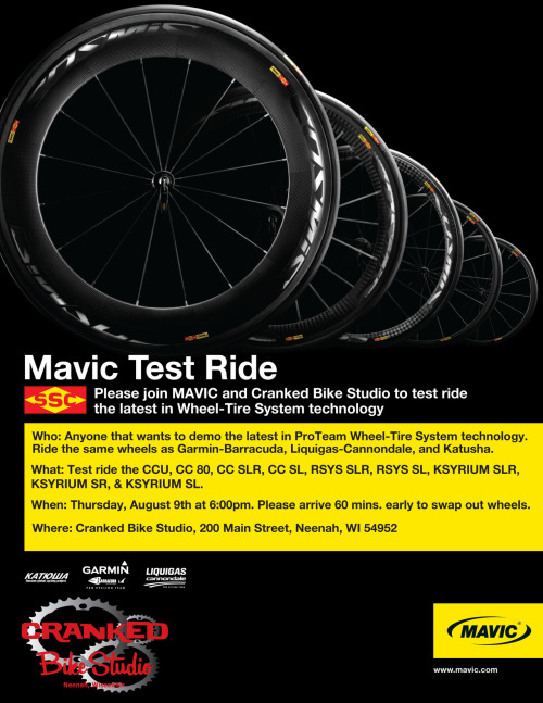 Don't forget, Free Mavic Wheel Demo August 9th 5:00!!!!!!!!!