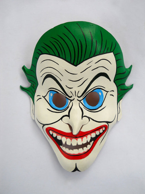 Leather joker mask for those oh so hilarious escapades in the bedroom. Ladies…match dem nylons to the hair k? By: LME Masks ETSY