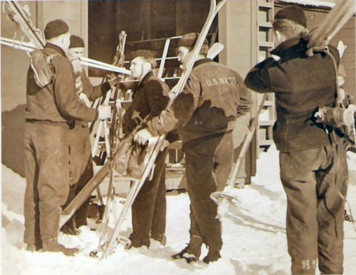 U.S. Navy skiers on Adak during WWII.