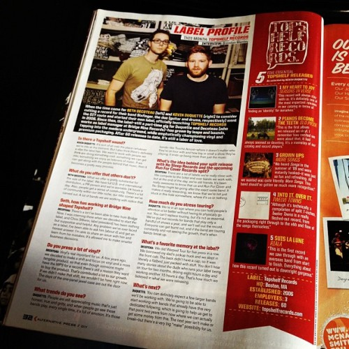Check out this month's issue of Alternative Press wherein Seth and myself have somehow tricked people into thinking we deserve a label feature! Our mothers are so very proud. Thanks Rob for the photo! I haven't read it yet, so I hope we don't sound like dinguses, but we probably do.