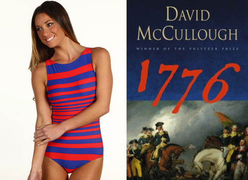 "matchbooknu:  The book: 1776 by David McCullough The first sentence: ""On the afternoon of Thursday, October 26, 1775, His Royal Magesty George III, King of England, rode in royal splendor from St. Jame's Palace to the Palace of Westminster, there to address the opening of Parliament on the increasingly distressing issue of war in America.  The bikini: DKNY Maren Stripe Low Back Tank Maillot. $68.99."