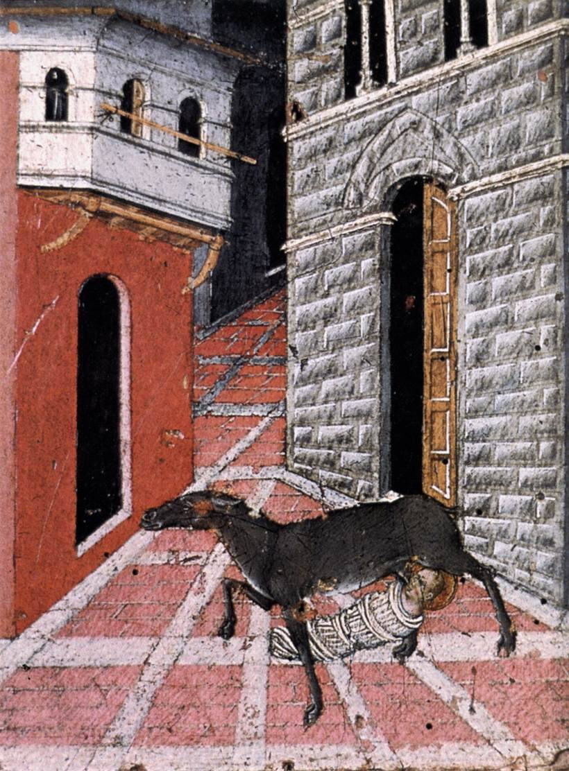 journalofanobody:  centuriespast:  GIOVANNI DI PAOLOSt Stephen Suckled by a Doe1450Tempera on woodSan Stefano alla Lizza, Siena  I think the doe should've been elevated to sainthood for putting up with this.