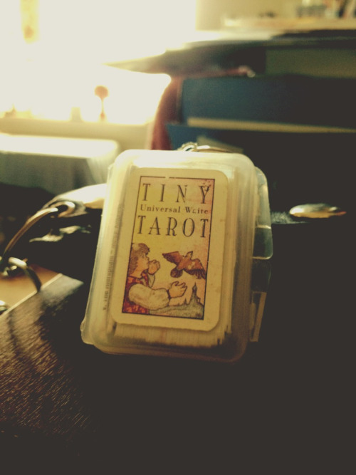 Forgot I had this Tarot Deck it's a deck that I can have on my keychain I'll probably carry it around with more often so I can do readings for myself or others :D