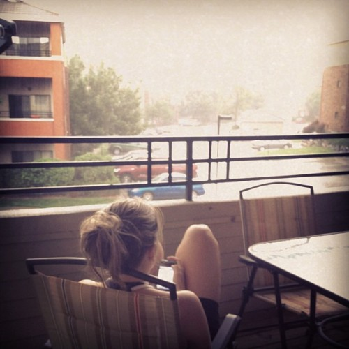 Aevs enjoying the thunderstorm that reminds her of home (Taken with Instagram)