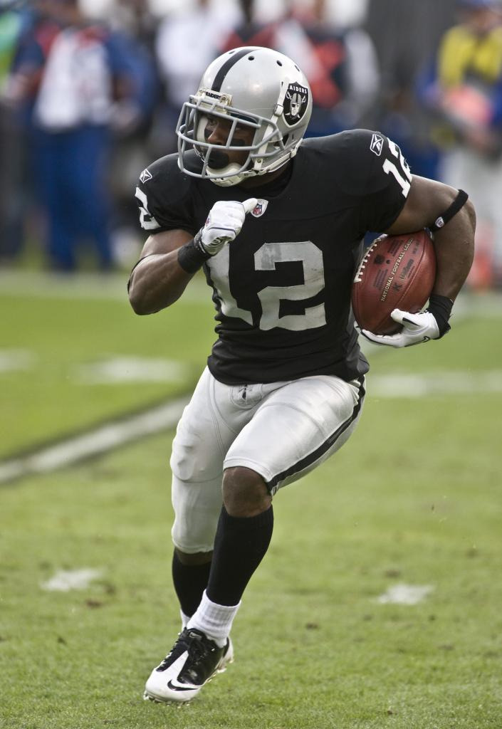 Happy Birthday: Jacoby Ford  July 27, 1987 - Jacoby Ford  is an American football wide receiver for the Oakland Raiders of the National Football League. A track athlete turned football player, Jacoby Ford is a wide receiver and return specialist for the Oakland Raiders. Ford was an NCAA All-American in track while attending Clemson University from 2006 to 2010. Since being selected by the Raiders in the 2010 NFL Draft, Ford has scored three touchdowns.  keepinitrealsports.tumblr.com  pinterest.com/mysterkeepinit  keepinitrealsports.wordpress.com  facebook.com/pages/KeepinitRealSports/250933458354216  Mobile- m.keepinitrealsports.com
