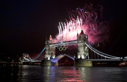reuters:  Fireworks explode off the Tower Bridge during the night of the opening ceremony of London 2012 Olympic Games in London July 27, 2012. [REUTERS/Mark Blinch] LIVE BLOG: The London 2012 Summer Olympic GamesAPP: Download the Reuters London 2012 app for iOSFACEBOOK: Reuters Olympics on FacebookTWITTER: The latest updates on @ReutersSports