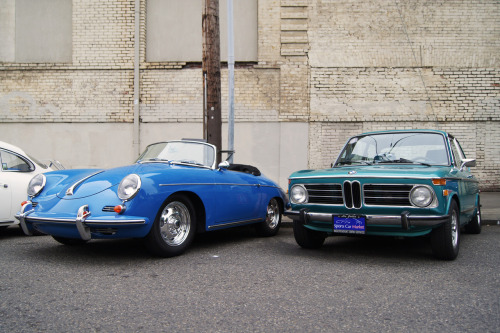 Two beautiful Germans in shades of blue. BMW 2002 tii (1972-74) and Porsche 356B 1600 Super Speedster (1948-65, though this is a 1960-61). Seen at the Monte Shelton Classic Car Rally, NW Portland