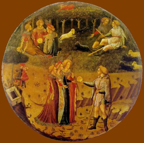 UNKNOWN MASTER, ItalianThe Judgement of Paris1430-40Tempera on wood, diameter 70 cmMuseo Nazionale del Bargello, Florence