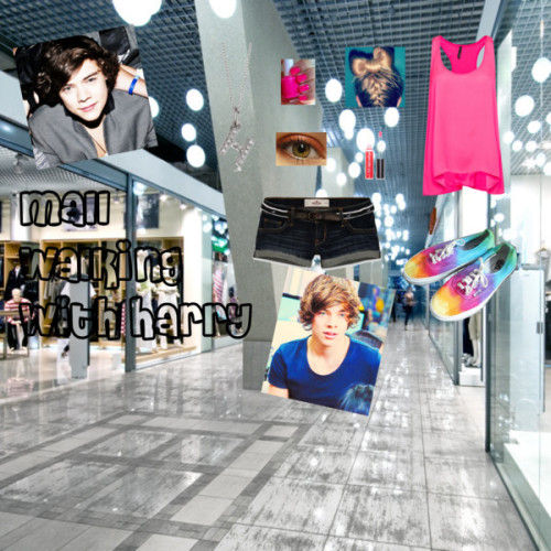 Mall walking with Harry by iluvparis16 featuring short shortsMango racer back tank, $28 / Hollister Co. short shorts / Vans  shoes / KC Designs white gold jewelry / Lip gloss, $19 / Red eye shadow