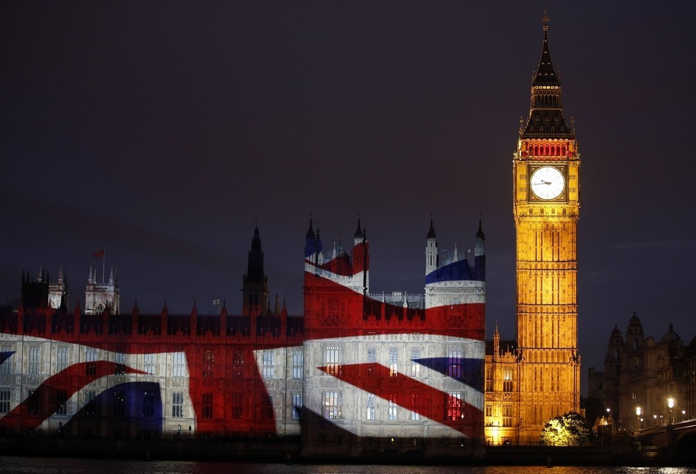 suicideblonde:  The Union Jack projected on the Palace of Westminster next to Big Ben during the Opening Ceremonies, July 27th BRITISH THINGS!!!!