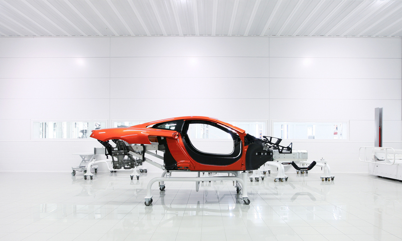 Assembly room of the McLaren MP4-12C at the McLaren Technology Centre, Woking, UK. Photo by Christiaan Ploeger.