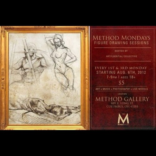 #MethodMondays Art Sessions figure drawing, live models, photography, Art @MethodGallery 889 E. Long st. Columbus, Oh 43203  starting Aug 6 and every 1st & 3rd Mondays #artfluentialcollective x @soulotheort (Taken with Instagram)