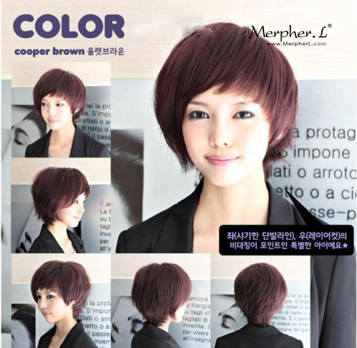 Stylish Short Natural Straight Kanekalon Wig Hairpiece Skin Top Design  shop from Merpher.L