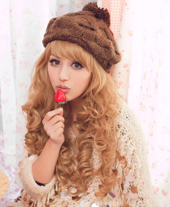 Luxurious Long Blonde Body Curl Kanekalon Wig Hairpiece Skin Top Design  hairnet  shop from Merpher.L
