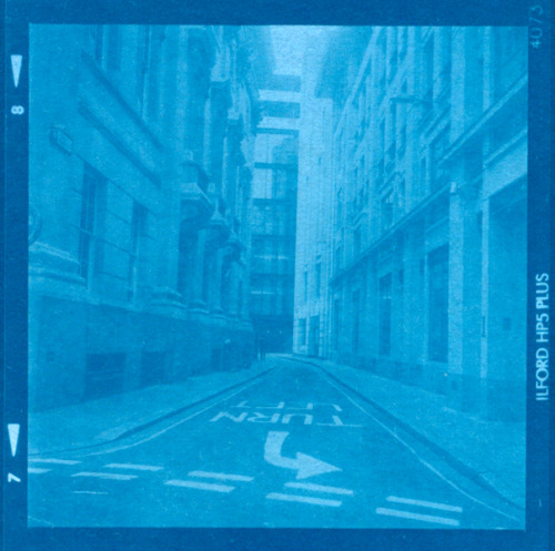 Carey Lane, City of London.  Medium format cyanotype contact print.