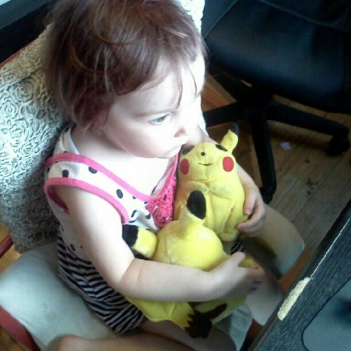 watching pokemon! she looves it. (Taken with Instagram)