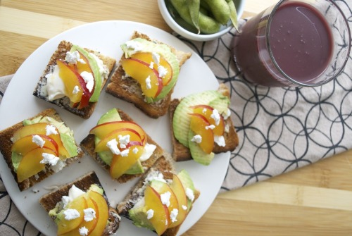 mysecretrecipebook:  Goat Cheese, Avocado, Plum Crostini My perfect lunch! Didn't have a baguette, but toasts will do!  INGREDIENTS: 2 toast half of avocado - sliced 1/4 cup goat cheese 3 tbsp butter 1/4 cup miracle whip, or mayonnaise 3-4 plums or peach - thinly sliced DIRECTIONS: 1. Prepare the toasts by cutting them into quarters. 2. Spread butter on all the toast. 3. Sprinkle bits of goat cheese onto the buttered toast and add mayonnaise. 4. Add on avocado and plum slices. 5. Sprinkle rest of the goat cheese on top.  Easy and tasty!
