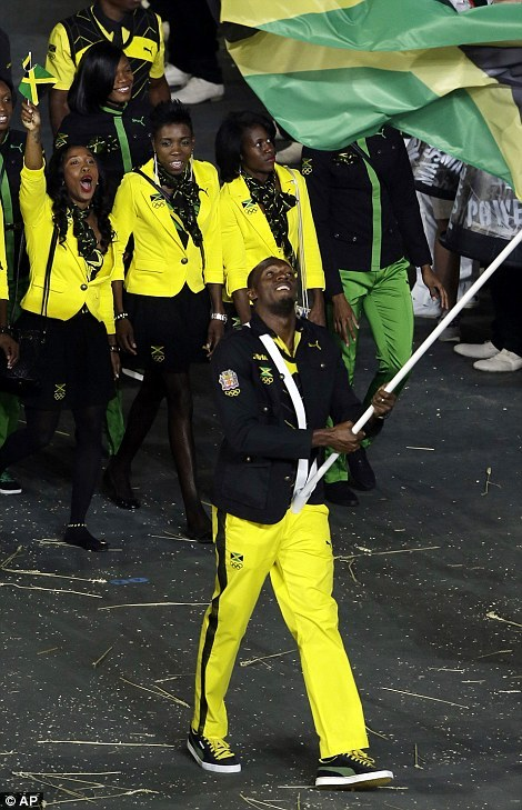Flying the flag: Usain Bolt of Jamaica