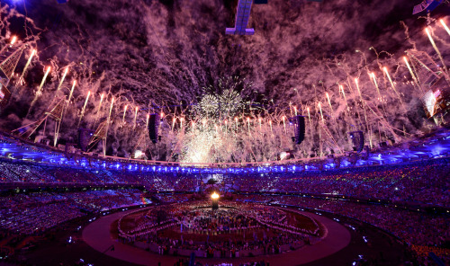 reuters:  Fireworks explode over the Olympic Stadium during the opening ceremony of the London 2012 Olympic Games July 27, 2012. [REUTERS/Dylan Martinez] The London Games: Live blog | On Twitter | On Facebook | iOS app