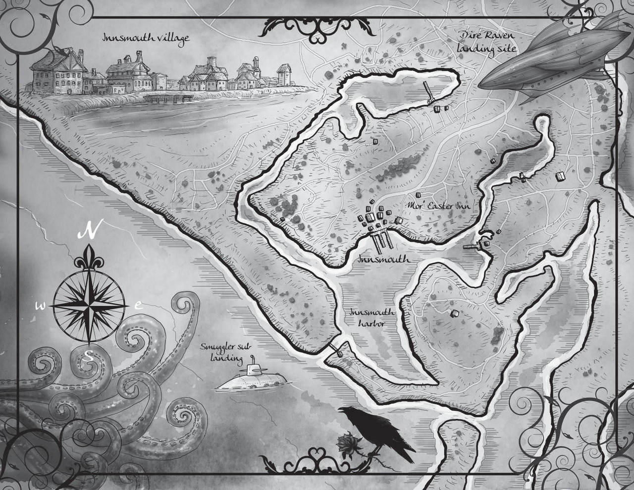 "Map of Innsmouth for the novel ""The Nightmare Garden"" written by Caitlin Kittredge"