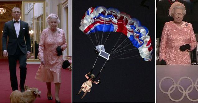 In a spectacular sequence, the Queen parachuted from a helicopter alongside James Bond into the Olympic Opening Ceremony. The crowd were astonished by the performance.