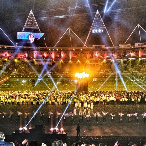 "Couldn't end a London Olympics Opening Ceremony w/out some Beatles… Paul McCartney closing out with ""Hey Jude"" as the flame is lit #london2012  (Taken with Instagram at 2012 London Olympics Opening Ceremony)"