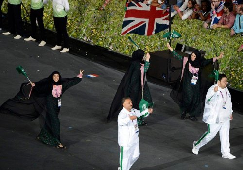 History in the making: Saudi women walking proudly among the Olympic athletes for the first time ever.