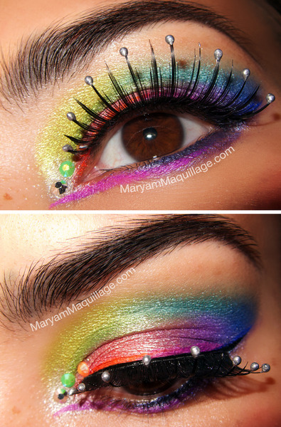 Maryam M. creates a fun rainbow mermaid inspired eye look!