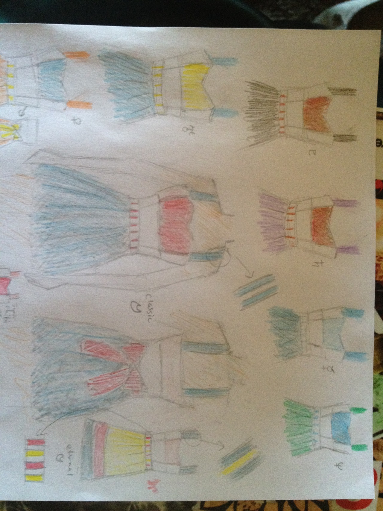 Today I designed these color block dresses to represent the different sailor fukus. Cotton, with princess seems in the front, and a bow in the back. I know that Uranus and Mars use the primary fuku colors for the back bows (Blue and Red), but I thought it looked weird that way and did it with the secondary fuku colors instead (Yellow and Purple). The only coloring medium I had was erasable colored pencils, so sorry for the weird colors in places….you know what they are supposed to look like.