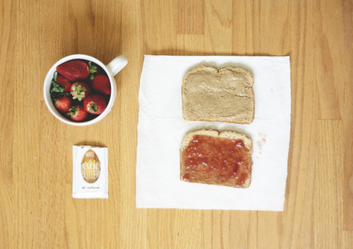 Today's lunch. Multi grain bread, strawberry jelly, maple almond butter, and strawberries!