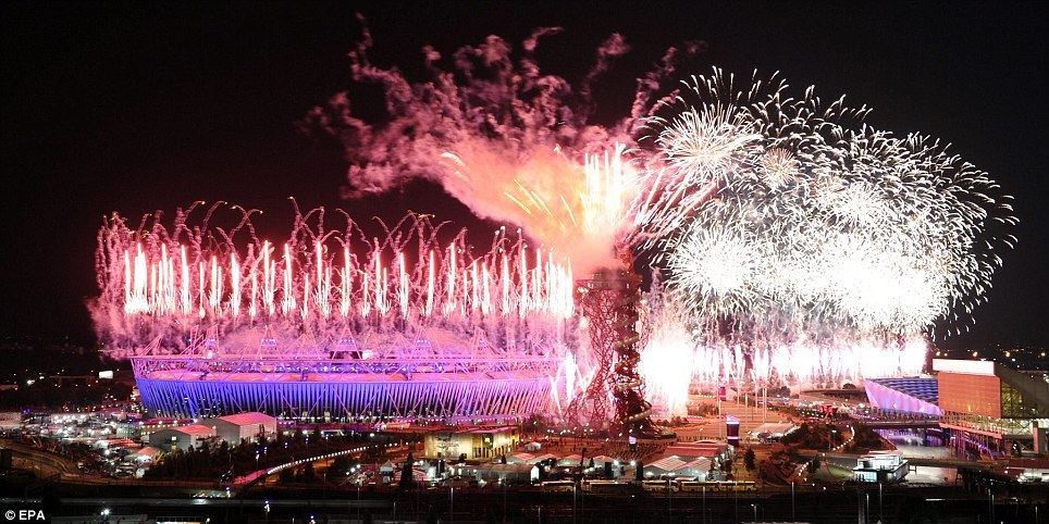 Fireworks light up the entire Olympic Park as the ceremony closes and the Games begin