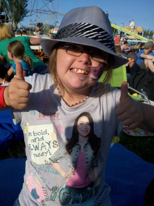 A fan waiting for Miranda Cosgrove's concert begin at Washington County Fair in Oregon