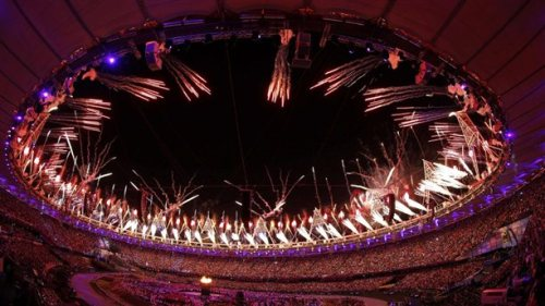 Seven young athletes light Olympic cauldron AP: Seven British athletes have lit the Olympic cauldron at the Opening Ceremony of the London Games. Earlier, Queen Elizabeth II declared the Games open. Photo: The Olympic cauldron is seen alight as fireworks are set off during the Opening Ceremony on Friday (Jorge Silva / Reuters)
