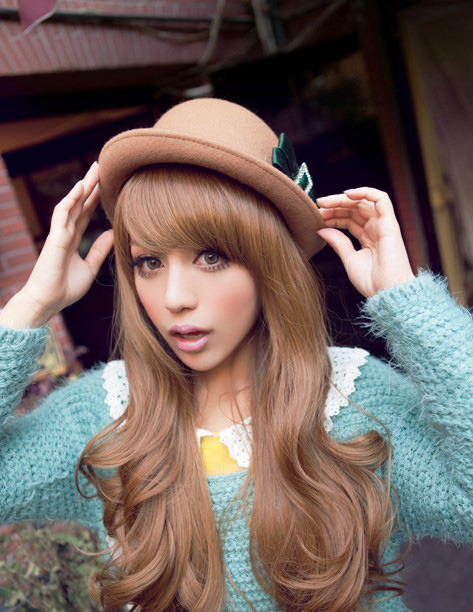 Luxurious Long Brown Natral Wave Kanekalon Wig Hairpiece Skin Top Design  shop from Merpher.L