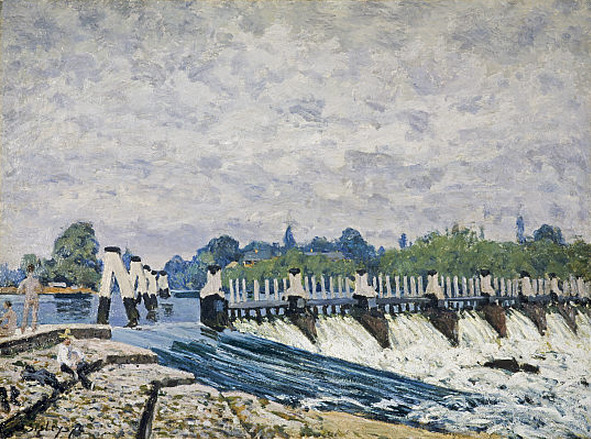 cavetocanvas:  Alfred Sisley, Molesey Weir, Hampton Court, 1874 From the National Galleries of Scotland:  Sisley enjoyed painting water and here captured splendidly the spume and spray of the river as it slides over the foreground weir or gushes through the barrier beyond. The weir breaks the flow of the River Thames to create a floating basin and to direct water into Mosley Lock. Sisley depicted the view upstream from Hampton Court Bridge, to the west of London, with Ash Island and the northern bank of the Thames beyond. The group of bathers included at the left provides human interest and a sense of scale, while blending perfectly with the river scene.