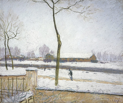 cavetocanvas:  Alfred Sisley, Effet de Neige (Snow Effect), c. 1880-85 From the National Galleries of Scotland:  This pastel drawing shows the distant buildings of the railway station in the village of Veneux-Nadon where Sisley was living. He often gave his pictures a title based on a particular 'effect'. Here he focuses on the frozen winter landscape surrounding the railway station. The close cropping of the scene gives the impression that it was observed through a window. The composition is very geometric: the bare sides of walls, railings and roof eaves run horizontally, while the slender trees and fence poles cut vertically through the scene. The blanket covering of white snow has obliterated many of the features of the landscape, making these uncovered forms stark and more visible. Sisley depicted this scene a number of times in the early 1880s.