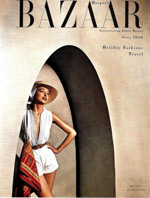 theniftyfifties:  Harper's Bazaar cover photo by Louse Dahl-Wolfe, June 1950.