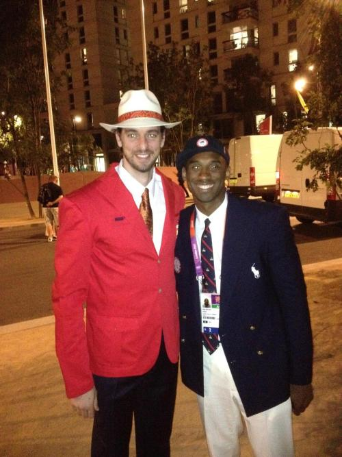 "foreverla:  kobebeanbryant: Kobe and Pau on Opening Night of the Olympics: ""Proud of mi hermano Pau. Being the flag bearer for your country is beyond an honor. This is us at the opening ceremony as we get set for our march toward the stadium and toward a possible showdown for the GOLD."" —Kobe Bryant"