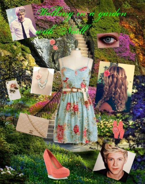 Walking in a garden with Niall by iluvparis16 featuring floral dressesFloral dress / Red Herring suede wedge, $55 / Quilted handbag / GUESS  watch, $125 / Retro jewelry / Tech accessory / H&M flower hair accessory, $3.12 / Creme eyeshadow