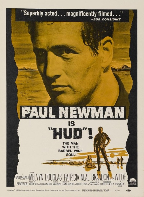 Movie poster for Hud, starring Paul Newman (1963) See some classic Paul Newman photographs at Boom Underground, who is posting them as part of a month-long series on Hunks We Were Hot For, a look at male heart-throbs from the 1960s & 70s (and a few from the 50s!).