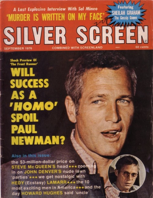 Silver Screen, September 1976 See some classic Paul Newman photographs at Boom Underground, who is posting them as part of a month-long series on Hunks We Were Hot For, a look at male heart-throbs from the 1960s & 70s (and a few from the 50s!). Source: Pulps and Comics