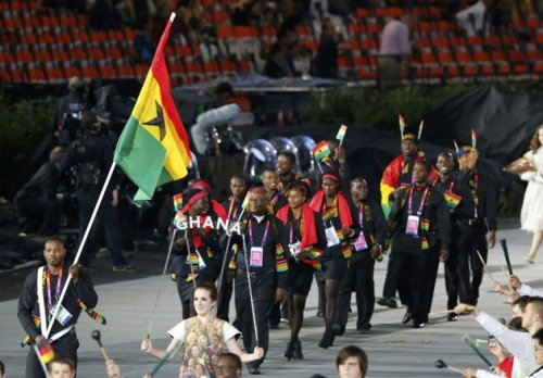 #TeamGHANA #LONDON2012 #TeamGhana #LONDON2012  The Ghana Olympic team wearing black as a sign of respect to the Ghana president, Atta Mills  who passed earlier this week