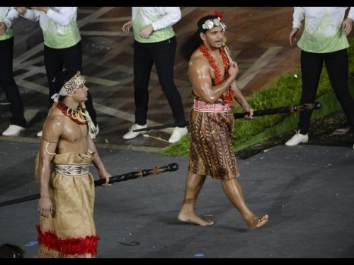 Athletes of American Somoa in the athletes parade during the opening ceremony for the 2012 London Olympic Games at Olympic Stadium. (Credit: USA Today)