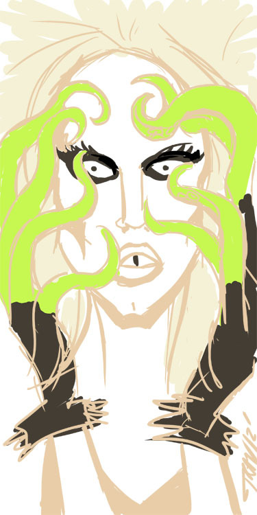 Sketch 2 of the Broke-Ass-Friday night: Sharon Needles Squid Fingers. Ya didn't think I would go without drawing one o' my queens didya? 20 minute sketch? Wacom into Photoshop 7-27-12