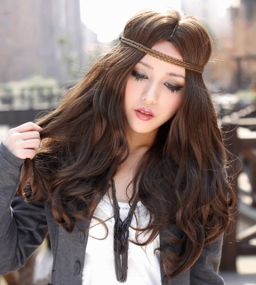 Bohemian Style Long Dark Brown Body Curl Kanekalon Wig Hairpiece Skin Top Design  shop from Merpher.L