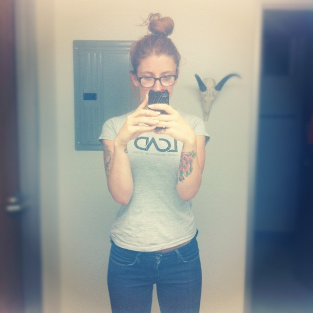 Art all day & a perfect bun. ☺ (Taken with Instagram)