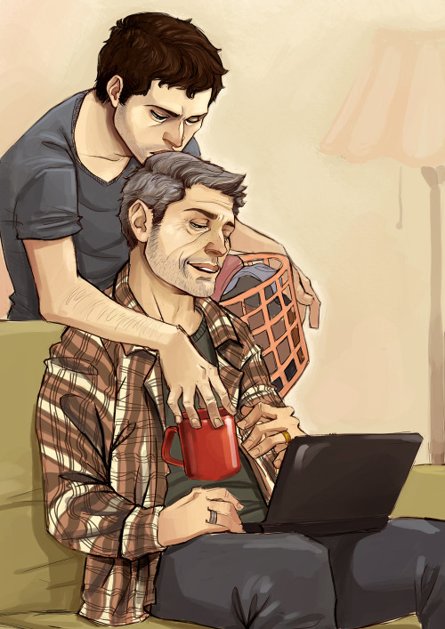 daggomusprime:  Old man Dean! And his young man :3 I have a huge soft spot for older Dean/always-young-angel Castiel. There has to be a little bitterness in my curtain stuff. I like the sadness of it, but I also love the idea of Castiel loving Dean no matter how he changes over the years. I also firmly believe he would be there when Dean dies, and leaves for heaven mere moments after him. lalala you can't tell me different