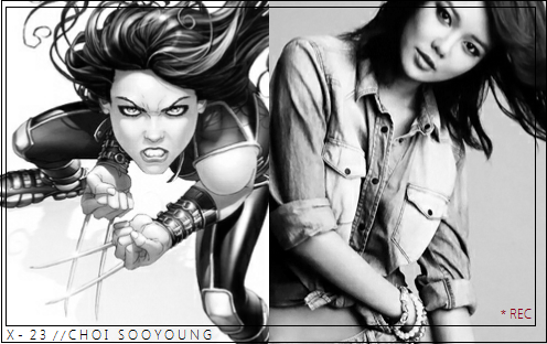 "X → X-23, Choi Sooyoung.  When Weapon X set out to clone Wolverine, they found that the only genetic sample they had was damaged and missing the Y chromosome. After 22 failed attempts to salvage the missing chromosome, they allow Dr Sarah Kinney to proceed with making a clone out of only the viable X chromosome, under the condition that she must surrogate. At seven years old, X-23 is subjected to radiation to trigger her mutant gene, and her bone claws are coated with adamantium. The doctor in charge, Zander Rice, then creates a trigger scent that drives X-23 into a rage. She for the next several years she is trained as a hired assassin. But shortly after,  Kinney's niece is kidnapped and she breaks X-23 out of the Weapon X facility to rescue her. They succeed in rescuing Megan, but Rice finds out and threatens to ""get rid of"" Kinney. He claims they don't need her anymore - showing her pods housing X-24 through X-50. Kinney then leaves a note for Laura telling her to destroy the pods and kill Rice. In the resulting rage, X-23 accidentally kills  Kinney - who tells her what her real name is and gives her information on Wolverine, Charles Xavier, and the Institute. X-23 then travels to San Francisco to live with her aunt and cousin. She discovers that her aunt's boyfriend is a Weapon X agent and the house is attacked. After defeating Kimura (who was her handler in the facility), X-23 decides to track down Wolverine. This leads her to the Xavier Institute, where the two battle and she defeats him. But instead of killing him, she demands answers. It's during the talk that Captain America intervenes and arrests X-23. He eventually frees X-23 after agreeing that she's atoned for her murders and wanting her to avoid becoming a SHIELD weapon. X-23 later resurfaces in NYC, where she's working as a bar tender. It's there that she meets Kid Nixon, Tat Caban, and Bobby Soul. Some time later she's enrolled in Xavier Institute where she rooms with Rachel Summers (Marvel Girl) and Kitty Pryde (Shadowcat). Her animosity towards Wolverine slowly shifts towards protectiveness instead. Her work with the X-Men from here out is, at times, rocky, but she still proves herself to be a valuable and effective part of the team (even though, from time to time, she mistakenly attacks their allies). She is one of the few mutants to retain her powers after M-Day."
