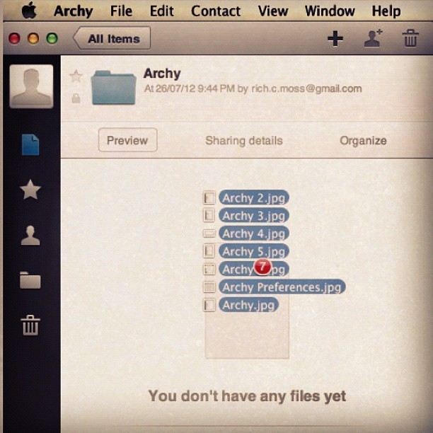 #Archy for #GoogleDrive on my mac #MountainLion #OSx cc @google (Pris avec Instagram)